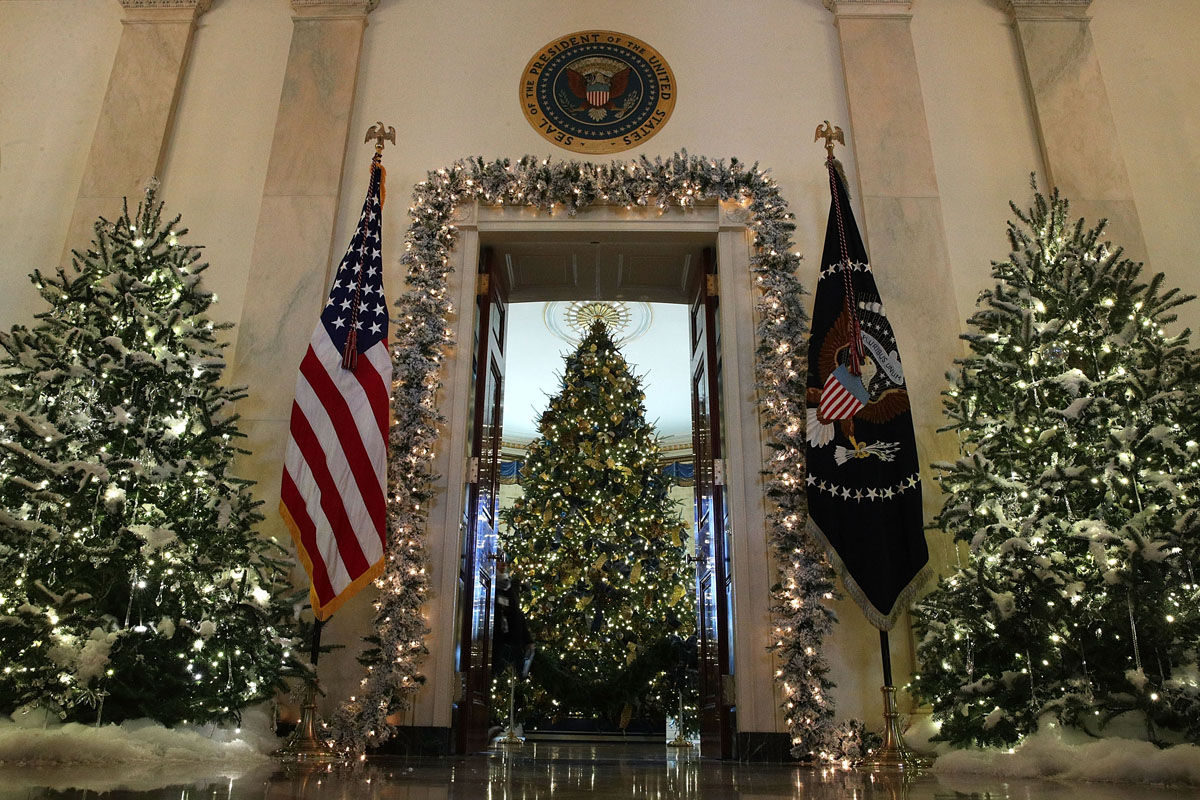 """WASHINGTON, DC - NOVEMBER 27:  The official White House Christmas tree stands in the Blue Room at the White House during a press preview of the 2017 holiday decorations November 27, 2017 in Washington, DC. The theme of the White House holiday decorations this year is """"Time-Honored Traditions.""""  (Photo by Alex Wong/Getty Images)"""