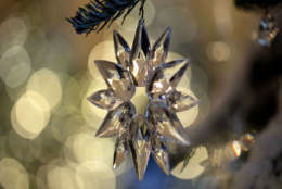 """Tree ornaments in the Grand Foyer and Cross Hall are in """"The Nutcracker Suite"""" theme as seen during a media preview of the 2017 holiday decorations at the White House in Washington, Monday, Nov. 27, 2017. (AP Photo/Carolyn Kaster)"""