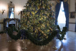 The official White House Christmas tree is seen in the Blue Room during a media preview of the 2017 holiday decorations at the White House in Washington, Monday, Nov. 27, 2017. (AP Photo/Carolyn Kaster)