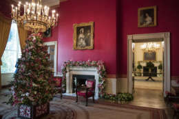The Red Room is seen during a media preview of the 2017 holiday decorations at the White House in Washington, Monday, Nov. 27, 2017. (AP Photo/Carolyn Kaster)