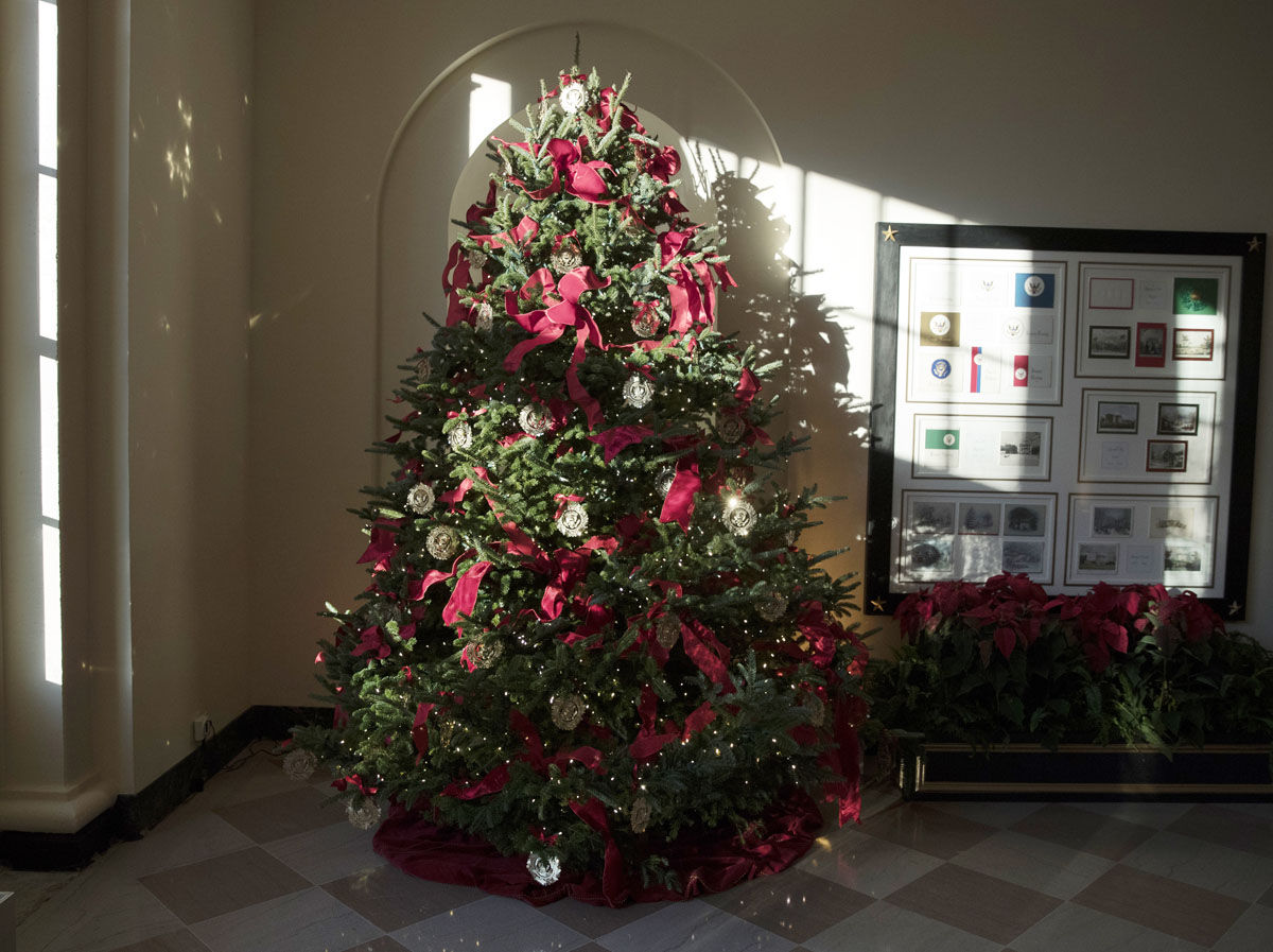 A Christmas tree is seen in the the East Garden Room during a media preview of the 2017 holiday decorations at the White House in Washington, Monday, Nov. 27, 2017. (AP Photo/Carolyn Kaster)