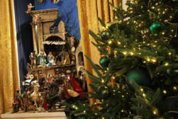 """WASHINGTON, DC - NOVEMBER 27:  The White House creche is on display in the East Room at the White House during a press preview of the 2017 holiday decorations November 27, 2017 in Washington, DC. The theme of the White House holiday decorations this year is """"Time-Honored Traditions."""" This is the 50th year the creche has been on display.  (Photo by Alex Wong/Getty Images)"""