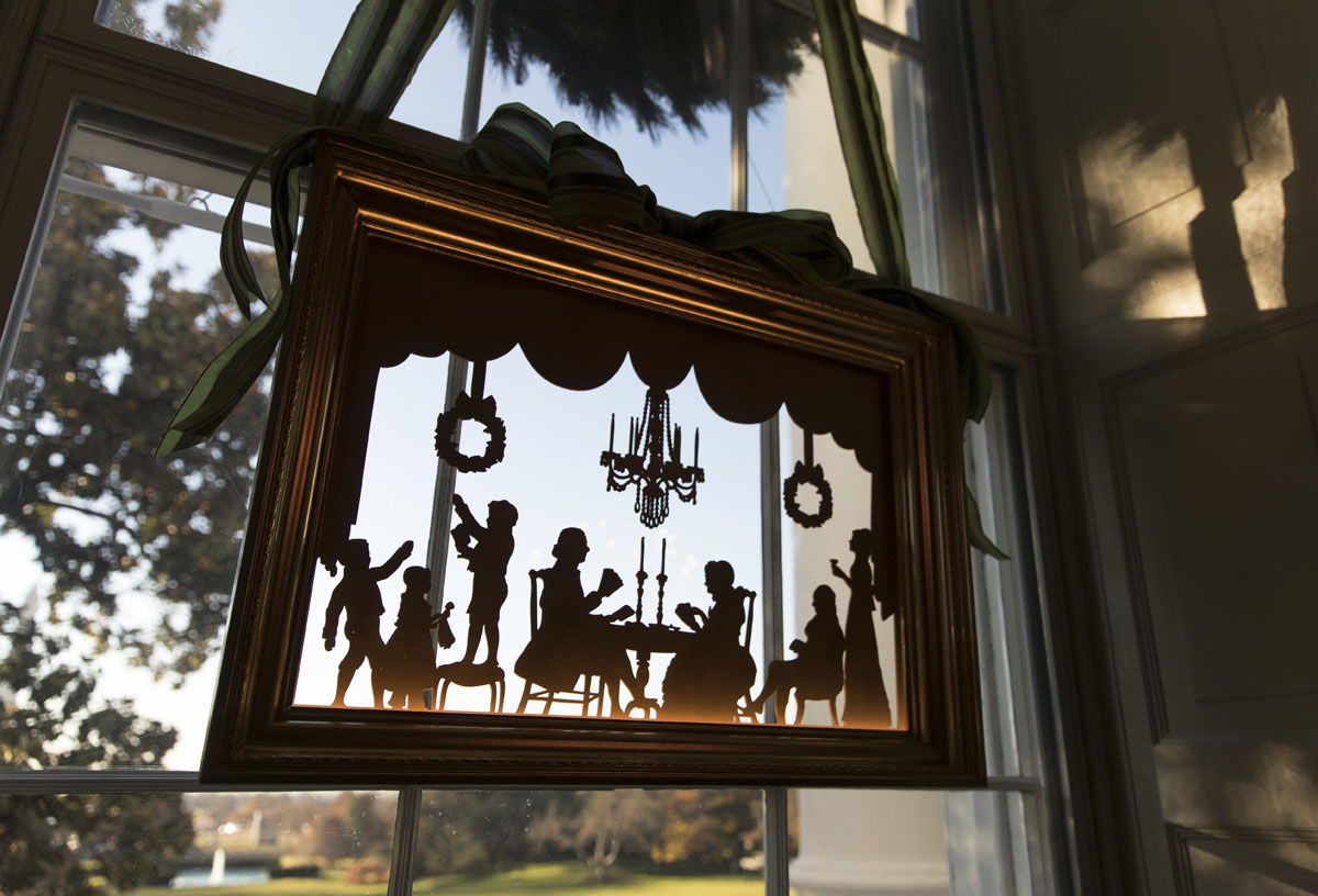 A window in the Green room is seen during a media preview of the 2017 holiday decorations at the White House in Washington, Monday, Nov. 27, 2017. (AP Photo/Carolyn Kaster)