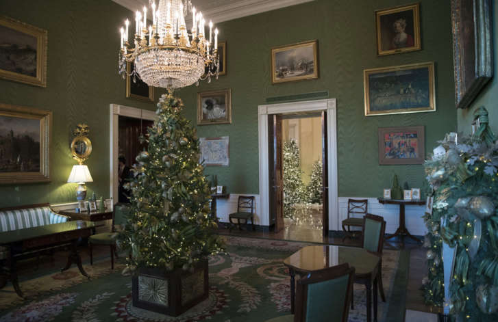 the green room with the 2017 holiday decorations is seen during a media preview tour of the white house in washington monday nov 27 2017