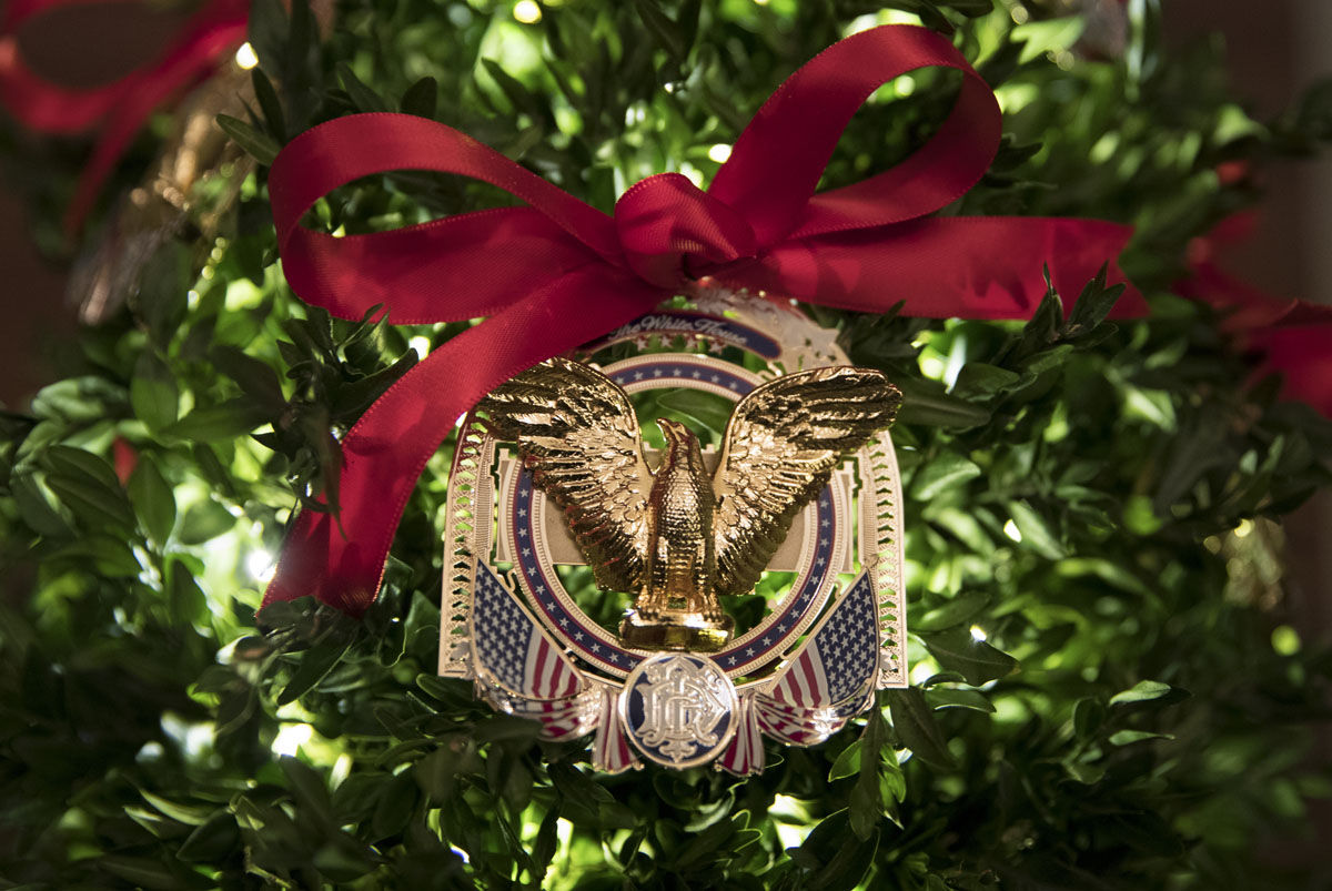Official 2017 White House Christmas Ornament is seen during a media preview of the 2017 holiday decorations at the White House in Washington, Monday, Nov. 27, 2017. (AP Photo/Carolyn Kaster)