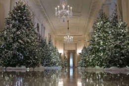 """The Cross Hall are decorated with """"The Nutcracker Suite"""" theme is seen during a media preview of the 2017 holiday decorations at the White House in Washington, Monday, Nov. 27, 2017. (AP Photo/Carolyn Kaster)"""