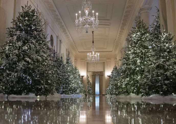 the cross hall are decorated with the nutcracker suite theme is seen during a media preview of the 2017 holiday decorations at the white house in