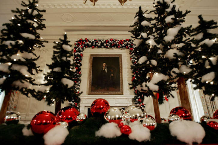 Is Surrounded By Holiday Decorations As First Lady Laura Bush Not Shown Hosted A Media Preview Of The 2006 At White House