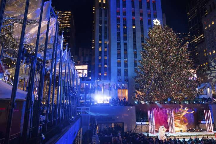 center christmas tree is lit during the 85th annual rockefeller center christmas tree lighting ceremony on wednesday nov 29 2017 in new york