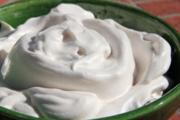"This Oct. 20, 2016 photo shows a natural, lower calorie whipped cream substitute in Coronado, Calif. It's made with the liquid leftover from the slow cooking of beans and legumes called ""aquafaba"" which can be whipped up into a pillowy fluff in minutes. This dish is from a recipe by Melissa d'Arabian. (Melissa d'Arabian via AP)"