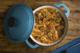 This Oct. 20, 2017 photo provided by The Culinary Institute of America shows a Cajun-style stew with andouille and turkey in Hyde Park, N.Y. This dish is from a recipe by the CIA. (Phil Mansfield/The Culinary Institute of America via AP)