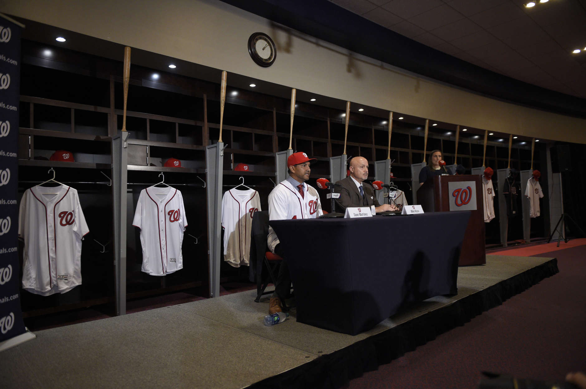 Washington Nationals new manager Dave Martinez, left, speaks alongside general manager Mike Rizzo during a baseball press conference, Thursday, Nov. 2, 2017, in Washington. (AP Photo/Nick Wass)