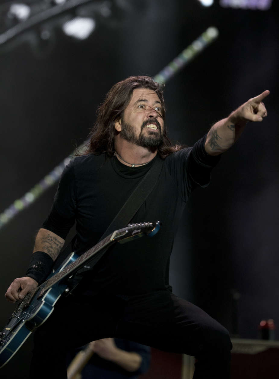 Dave Grohl from the band Foo Fighters performs during the Corona Capital music festival in Mexico City, Saturday, Nov. 18, 2017. (AP Photo/Eduardo Verdugo)
