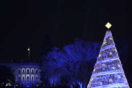 The 2017 National Christmas Tree is lit on the Ellipse with the White House in the background Thursday, Nov. 30, 2017, in Washington. (AP Photo/Andrew Harnik)