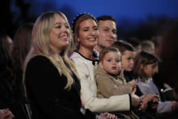 Tiffany Trump, left, sits with Ivanka Trump and her husband Jared Kushner, senior advisor to President Donald Trump, and their children, Theodore, Joseph and Arabella at the National Christmas Tree lighting ceremony at the Ellipse near the White House in Washington, Thursday, Nov. 30, 2017. (AP Photo/Manuel Balce Ceneta)