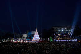 The lighting ceremony for the 2017 National Christmas Tree on the Ellipse near the White House, Thursday, Nov. 30, 2017, in Washington. (AP Photo/Andrew Harnik)