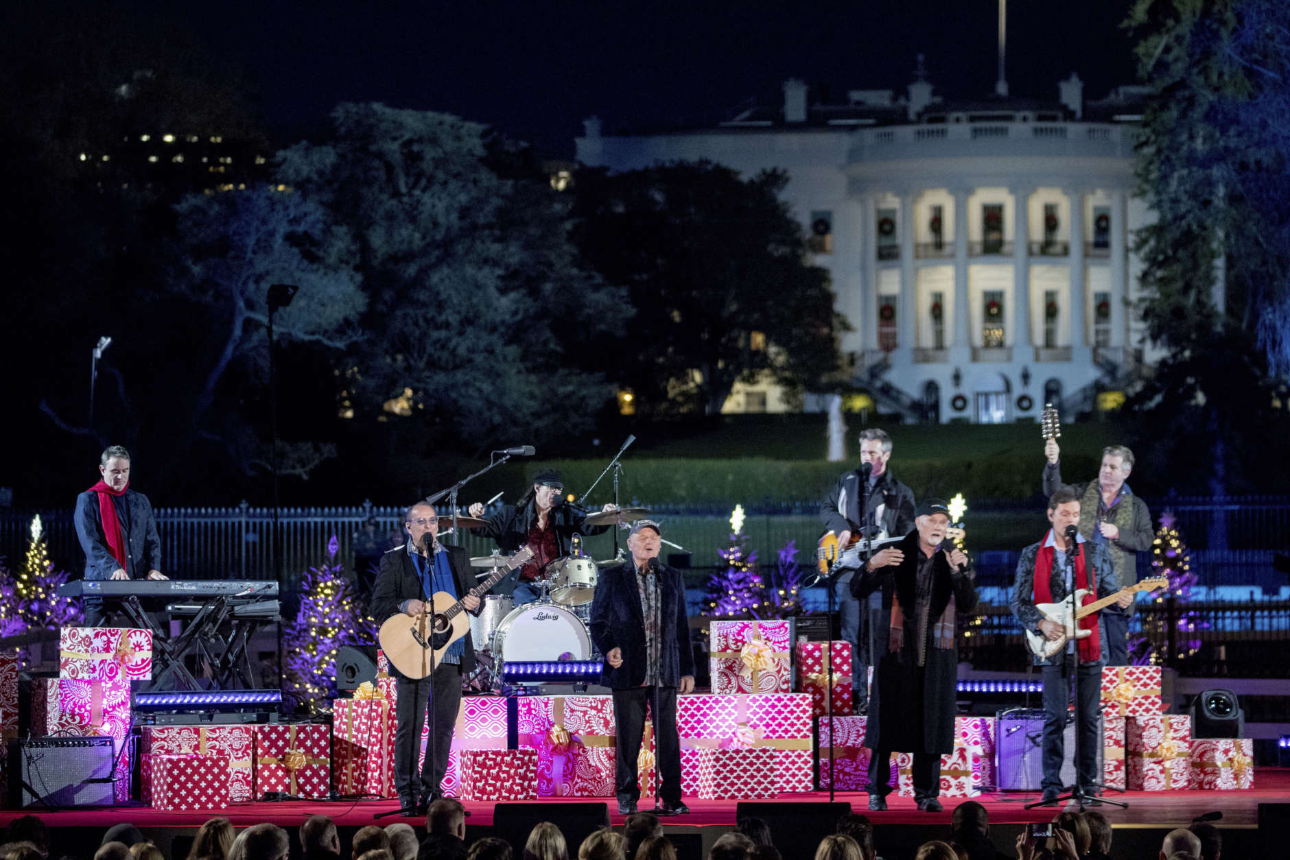 The Beach Boys perform during the lighting ceremony for the 2017 National Christmas Tree on the Ellipse near the White House, Thursday, Nov. 30, 2017, in Washington. (AP Photo/Andrew Harnik)