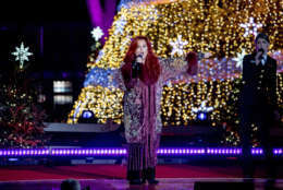 Wynonna performs during the lighting ceremony for the 2017 National Christmas Tree on the Ellipse near the White House, Thursday, Nov. 30, 2017, in Washington. (AP Photo/Andrew Harnik)