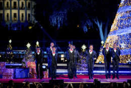 Boys II Bow Ties performs during the lighting ceremony for the 2017 National Christmas Tree on the Ellipse near the White House, Thursday, Nov. 30, 2017, in Washington. (AP Photo/Andrew Harnik)