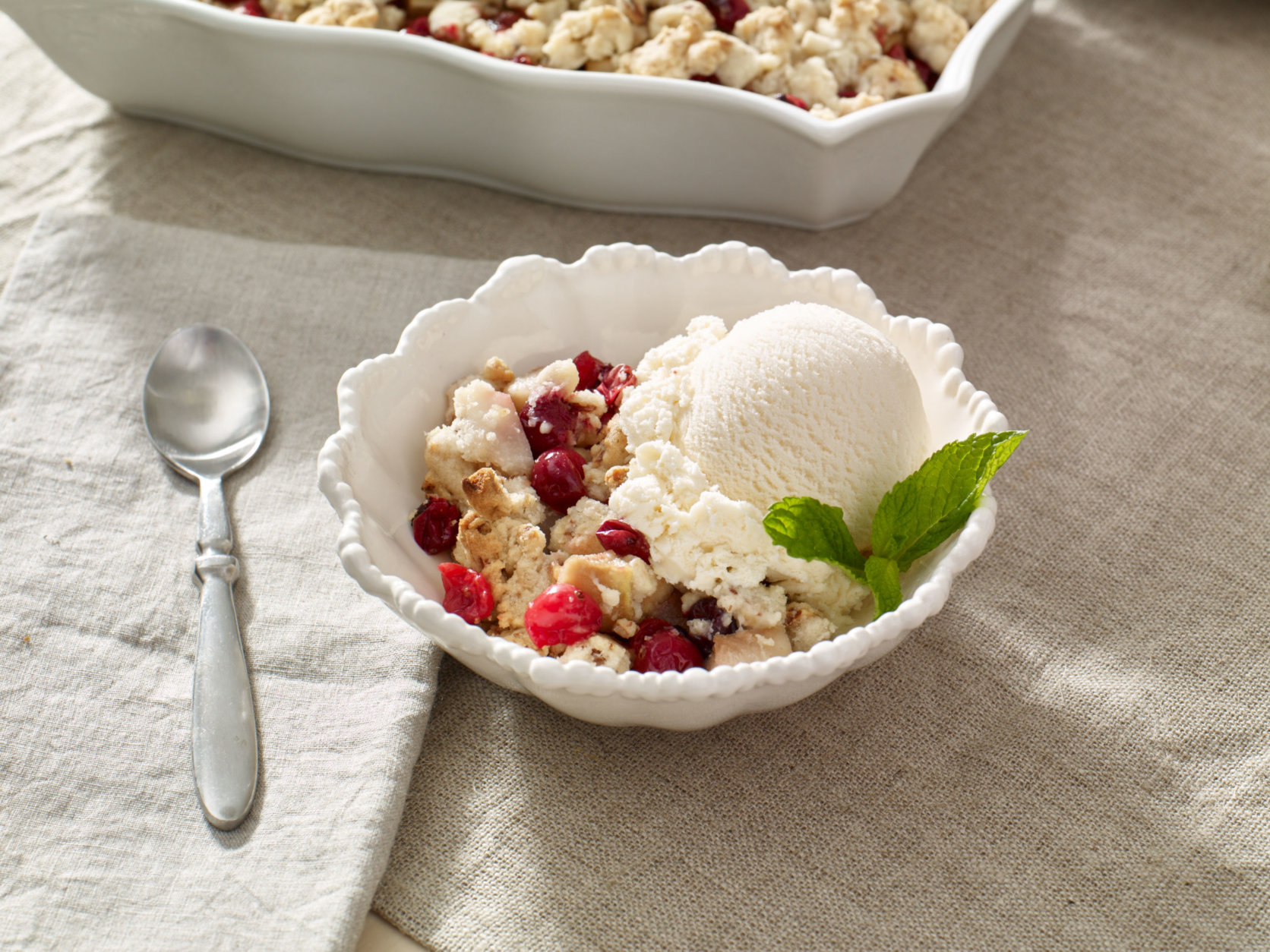 IMAGE DISTRIBUTED FOR OCEAN SPRAY - Try cranberries outside of just sauce with a Cranberry Almond Pear Crisp for Thanksgiving dessert. For the full recipe, visit http://www.oceanspray.com/FamilyAffair/. (Ocean Spray via AP Images)