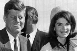 President John F. Kennedy and his wife Jacqueline arrive at Dallas Love Field, Nov. 22, 1963, the day he was assassinated. (AP Photo/files)
