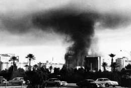 A fire burns at the MGM Grand Hotel and Casino in Las Vegas on Nov. 21, 1980. (AP Photo)
