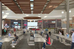 This artists rendering shows the redesigned food court at Arundel Mills. Renamed the dining pavilion, the space features a new layout, elevated banquet tables with charging stations plus conversation seating areas. New options include The Crepe Escape & Creamery, Green Leafs & Bananas, Suki Hana Wokaholic, Charleys Philly Steaks and Maryland's first Zinburger Wine & Burger Bar. (Courtesy Arundel Mills)