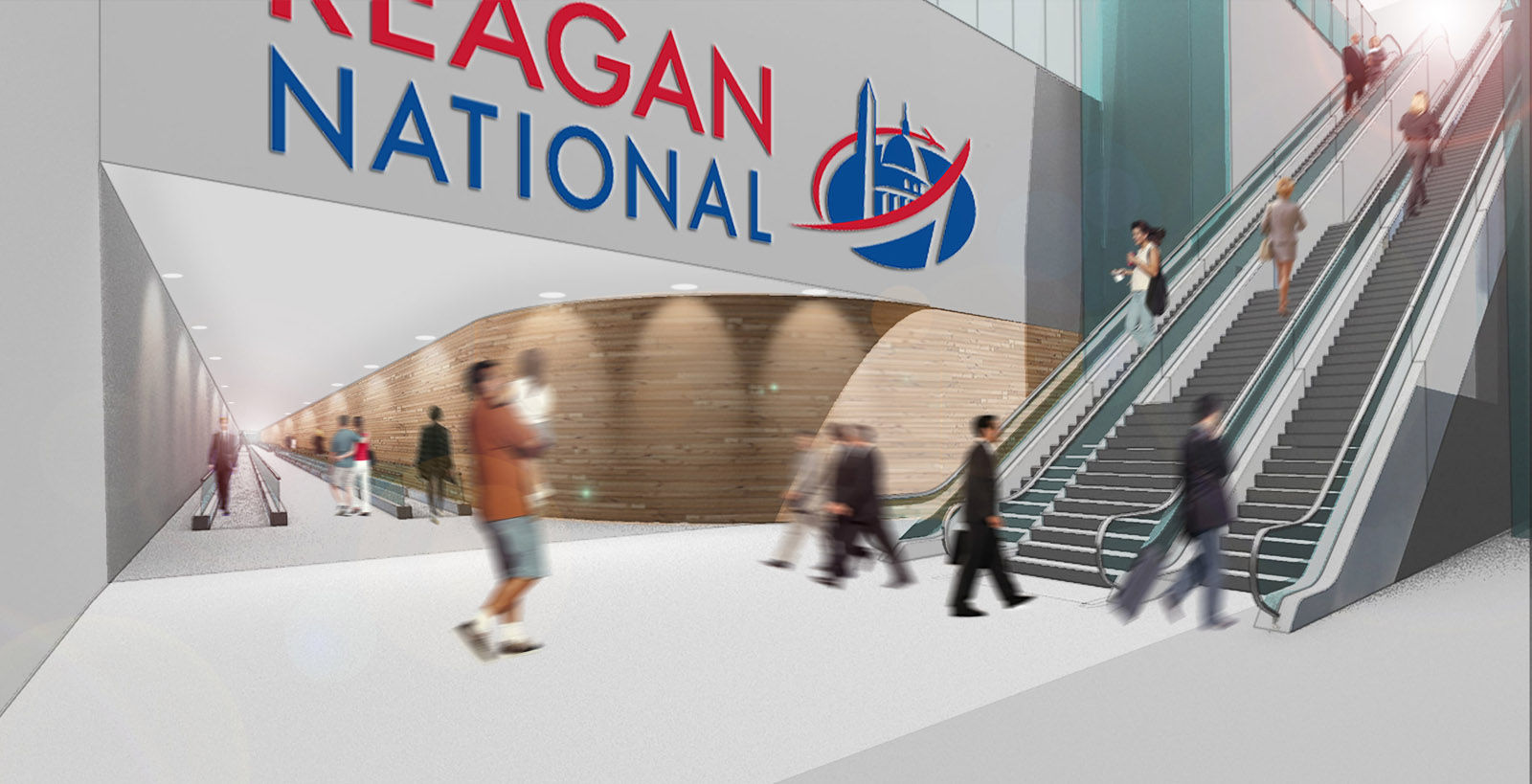 This artists rendering shows a pedestrian walkway connecting to Reagan National Airport. (Courtesy Crystal City Business Improvement District )