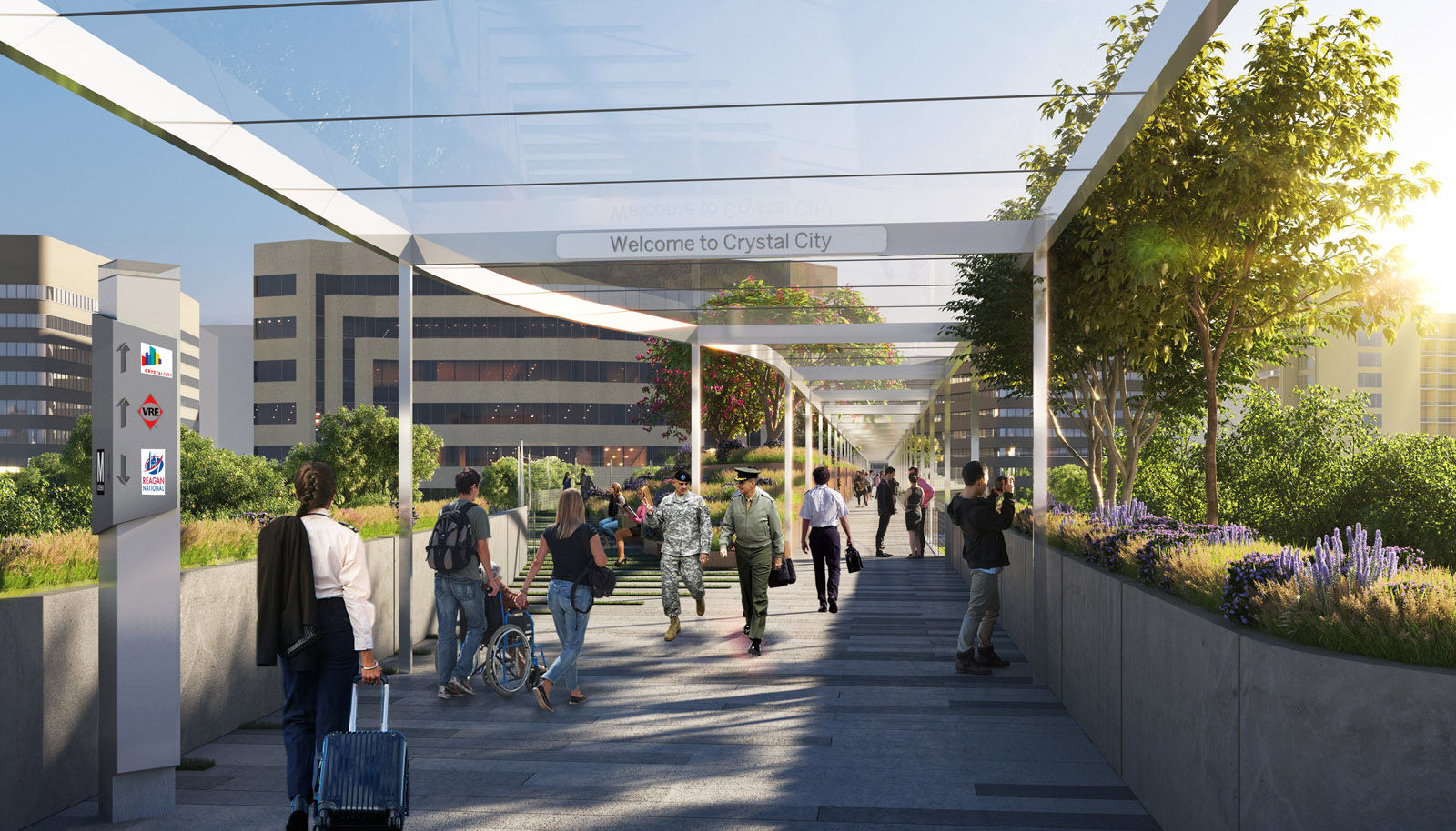 This artists rendering shows a proposed pedestrian bridge that would link Reagan National Airport to Crystal City. (Courtesy Crystal City Business Improvement District )
