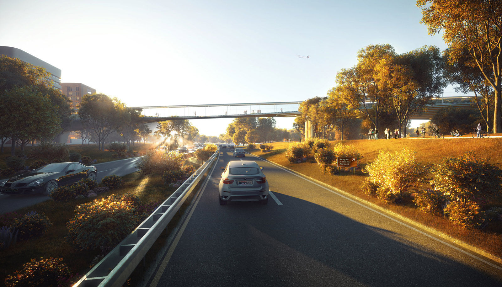 This artists rendering shows a pedestrian bridge crossing above the George Washington Memorial Parkway. The bridge would connect Crystal City with Reagan National Airport. (Courtesy Crystal City Business Improvement District )