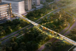This artists rendering shows a pedestrian bridge above the George Washington Memorial Parkway. The bridge would connect Crystal City with Reagan National Airport. (Courtesy Crystal City Business Improvement District )