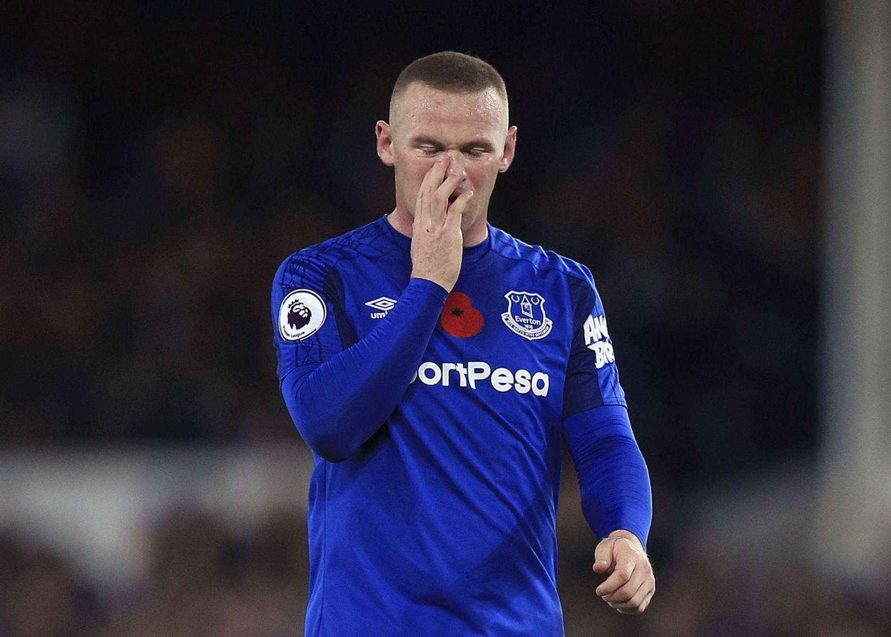 Everton's Wayne Rooney during the English Premier League soccer match against Watford at Goodison Park, Liverpool, England, Sunday Nov. 5, 2017. (Peter Byrne/PA via AP)