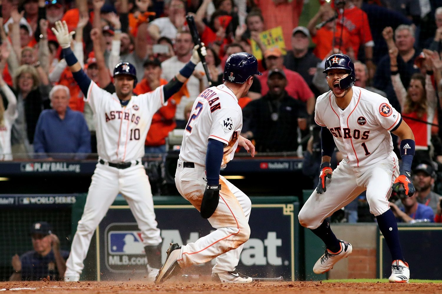 HOUSTON, TX - OCTOBER 29: Alex Bregman #2 of the Houston Astros celebrates after scoring on a double by Jose Altuve #27 (not pictured) during the seventh inning against the Los Angeles Dodgers in game five of the 2017 World Series at Minute Maid Park on October 29, 2017 in Houston, Texas.  (Photo by Jamie Squire/Getty Images)