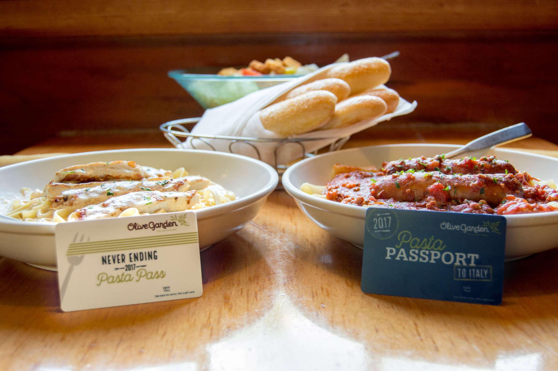 Pasta, pasta and breadsticks. (Courtesy Olive Garden)