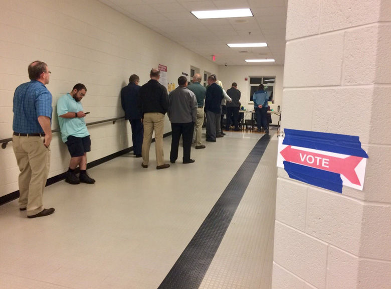First voters line up in Nokesville, Virginia. (WTOP/Nick Iannelli)
