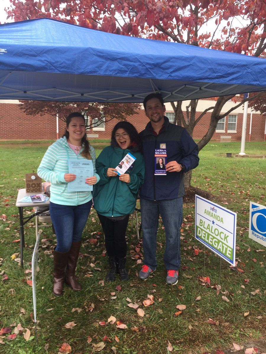 """Twitter user @Gene_Sellers tweeted, """"Rain hasn't dampened Stafford volunteers/voters."""" (Courtesy @Gene_Sellers/Twitter)"""