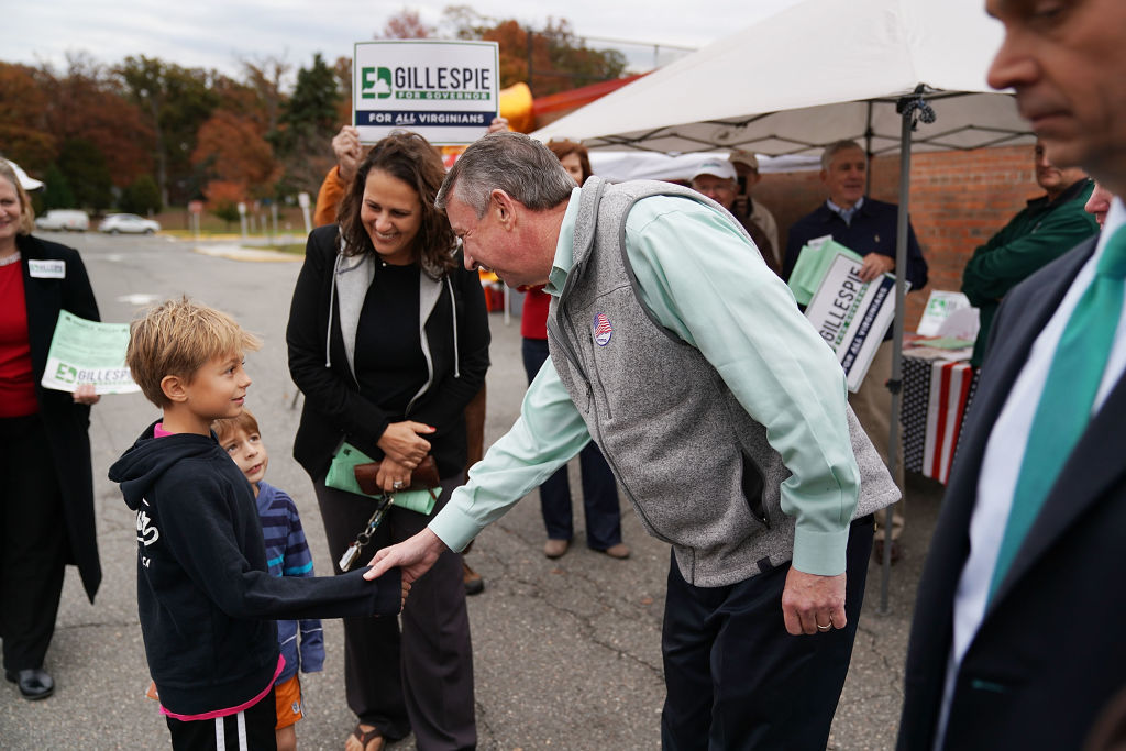 Republican candidate for Virginia governor Ed Gillespie arrives to cast his vote at the polling place at Washington Mill Elementary School November 7, 2017 in Alexandria, Virginia. In a race that many see as a test of the Republican administration of President Donald Trump, Gillespie is running against the commonwealth's current lieutenant governor, Democrat Ralph Northam.