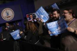 FAIRFAX, VA - NOVEMBER 07:  Supporters of Ralph Northam, the Democratic candidate for governor of Virginia, celebrate as early projections indicated a Northam victory at an election night rally November 7, 2017 in Fairfax, Virginia. Northam has fought a close race with Republican candidate Ed Gillespie.  (Photo by Win McNamee/Getty Images)
