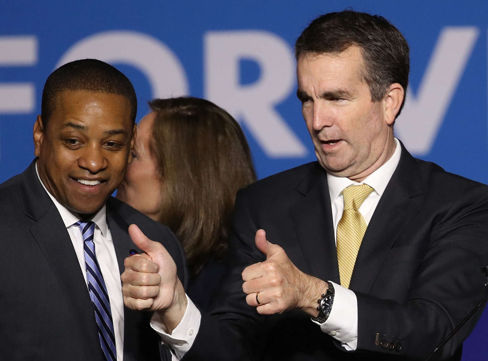 FAIRFAX, VA - NOVEMBER 07:  Gov.-elect Ralph Northam (R) and Lt. Gov.-elect Justin Fairfax greet supporters at an election night rally November 7, 2017 in Fairfax, Virginia. Northam defeated Republican candidate Ed Gillespie.  (Photo by Win McNamee/Getty Images)