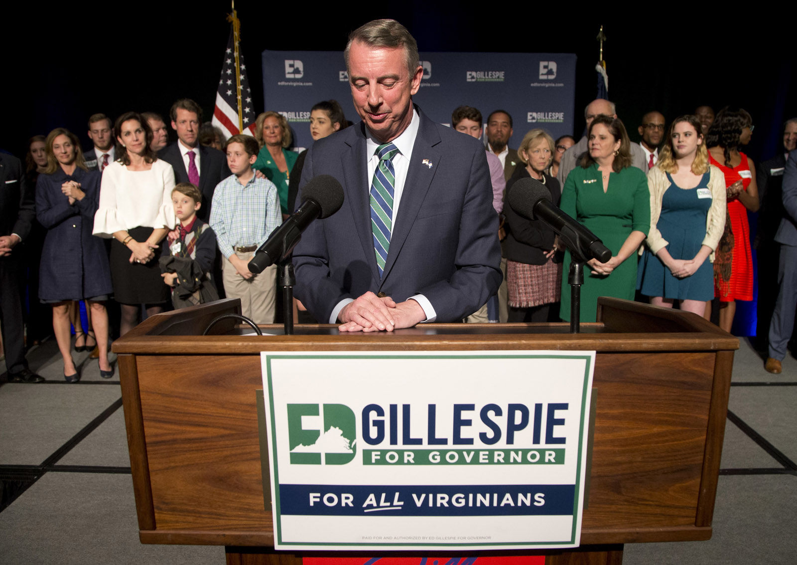 Republican gubernatorial candidate Ed Gillespie pauses as he delivers a concession speech during an election party in Richmond, Va., Tuesday, Nov. 7, 2017. Gillespie lost to Democrat Ralph Northam. (AP Photo/Steve Helber)