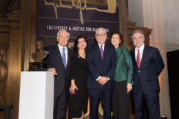 Ambassador Lloyd Hand, Luci Baines Johnson, David Rubenstein, Lynda Johnson Robb and Cappy McGarr at the LBJ Liberty & Justice for All Award ceremony at the National Archives Museum Wednesday. (Courtesy Daniel Swartz)