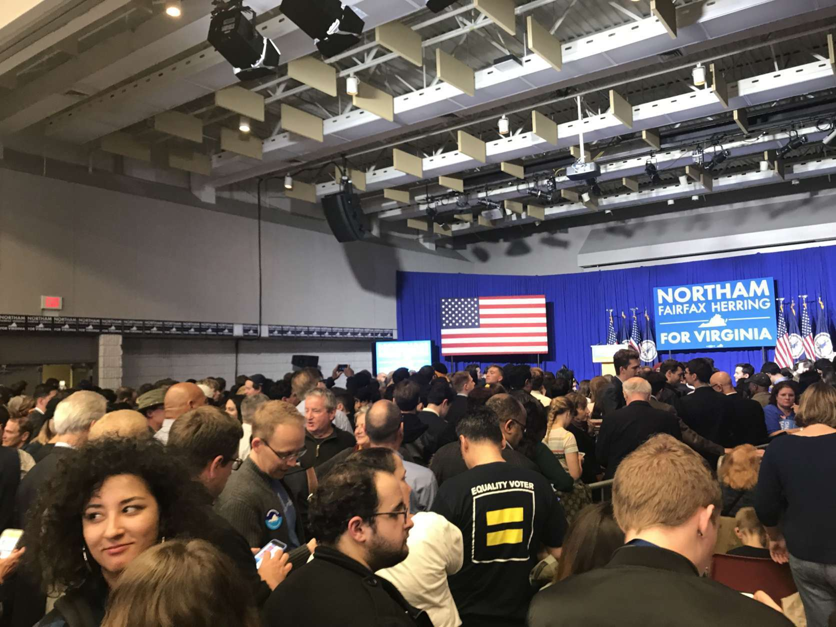 The scene at the Northam campaign in Fairfax, Virginia, before Ralph Northam is announced the winner of the Virginia governor's race. (WTOP/Dick Uliano)