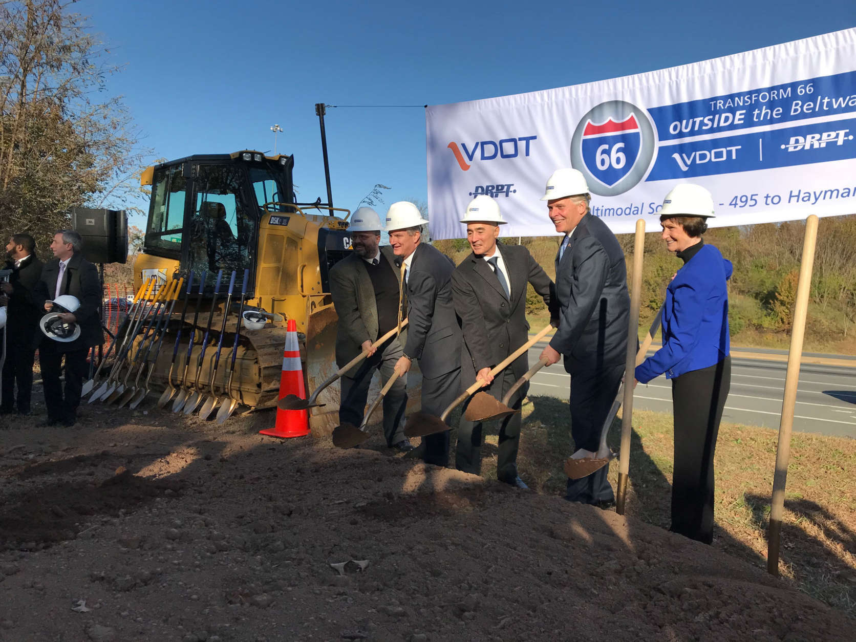Gov. Terry McAuliffe is among the dignitaries at Monday's groundbreaking. (WTOP/Dick Uliano)