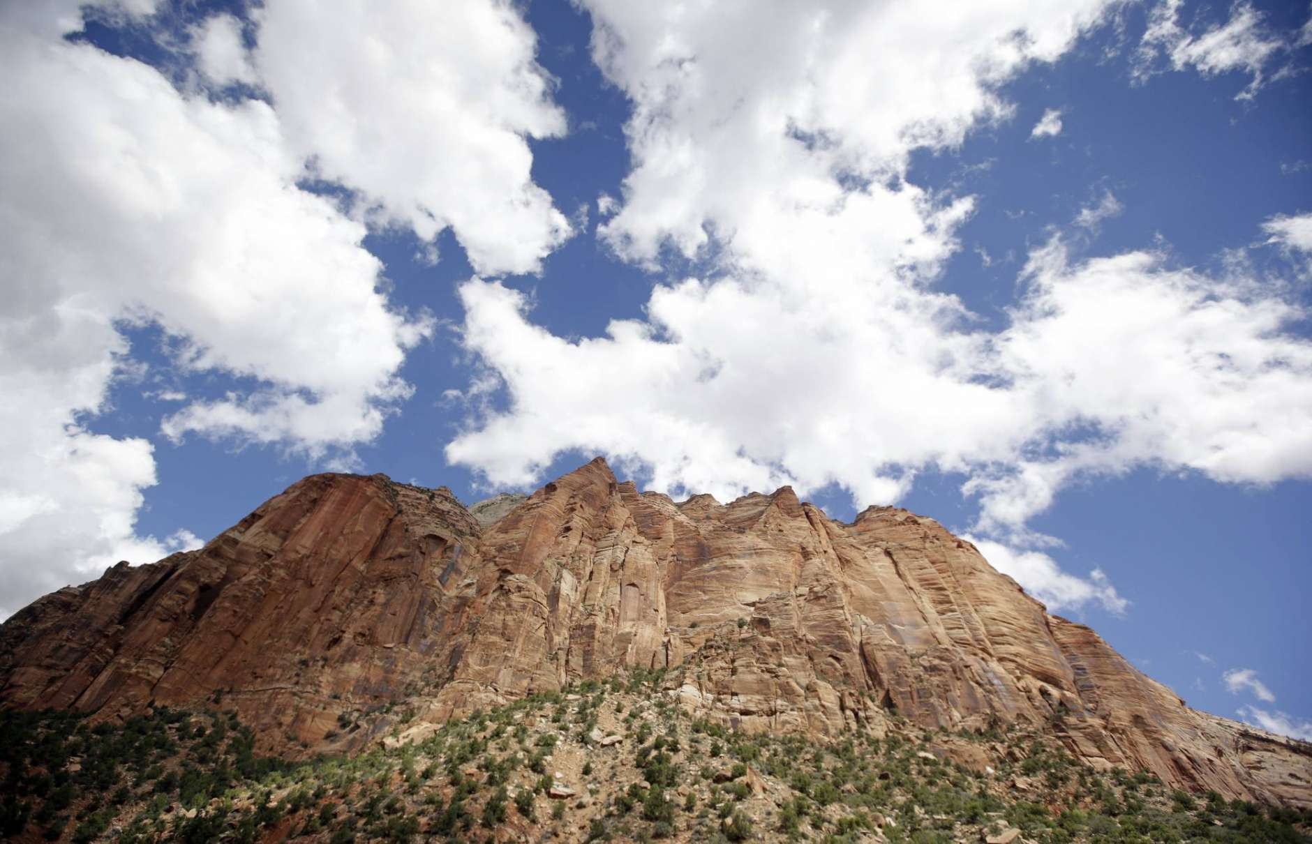 FILE - This Sept. 16, 2015, file photo shows Zion National Park, near Springdale, Utah. A group of state attorneys general on Wednesday, Nov. 22, 2017, urged the National Park Service to scrap its proposal to more than double the entrance fee at 17 popular national parks. (AP Photo/Rick Bowmer, File)