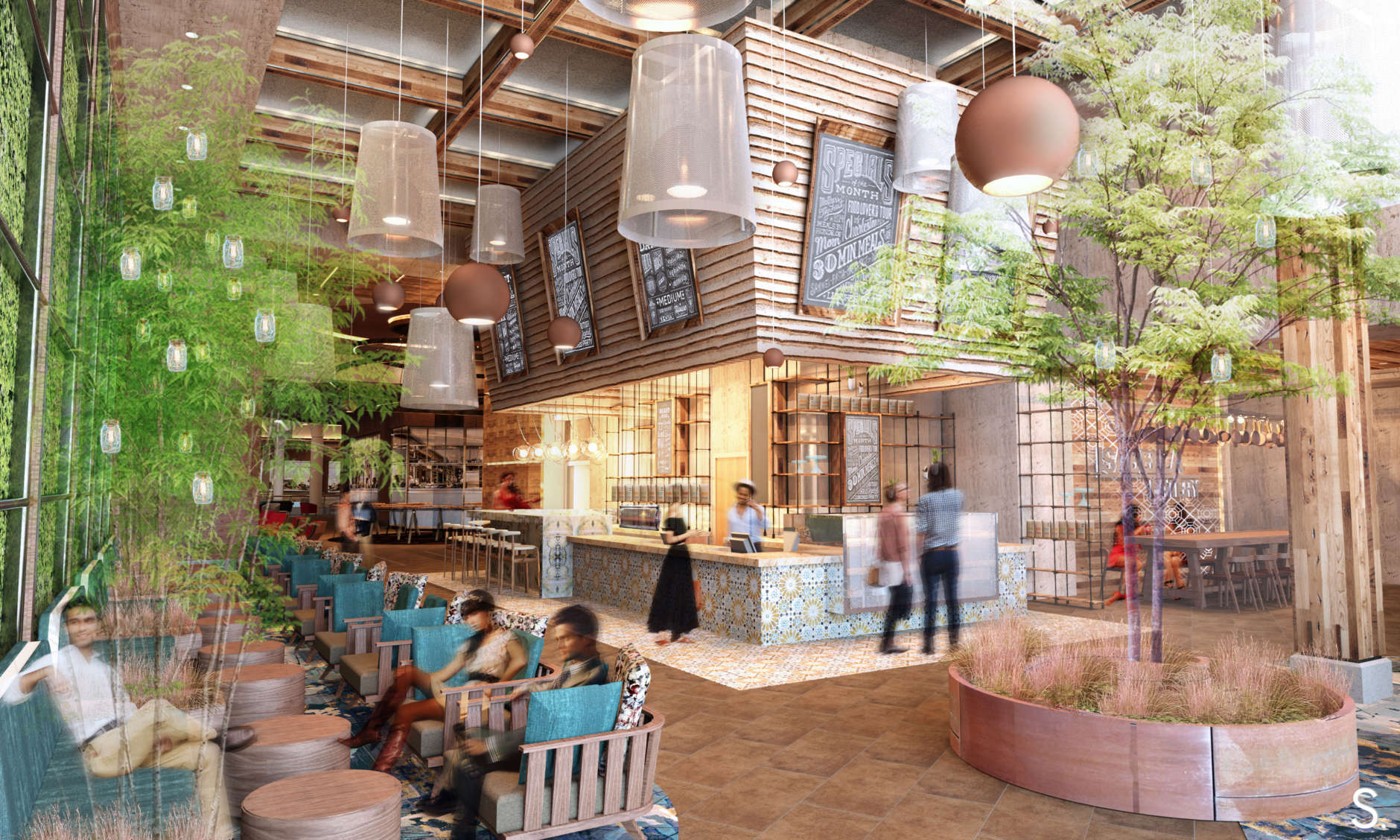 Non-Fiction Coffee, a new style of coffeehouse lounge, will offer artisan beans, pastries, fresh juices and sandwiches. (Rendering courtesy Mike Isabella Concepts/Streetsense)