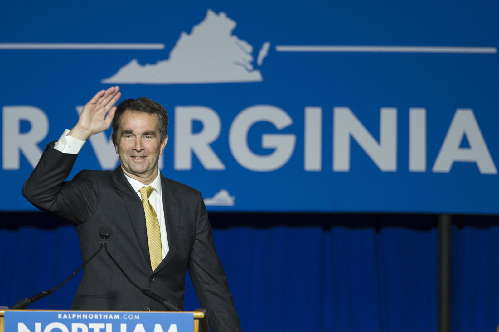 Virginia Democratic Gov. elect Ralph Northam addresses supporters and at the Northam For Governor election night party at George Mason University in Fairfax, Va., Tuesday, Nov. 7, 2017. Northam defeated Republican Ed Gillespie. (AP Photo/Cliff Owen)