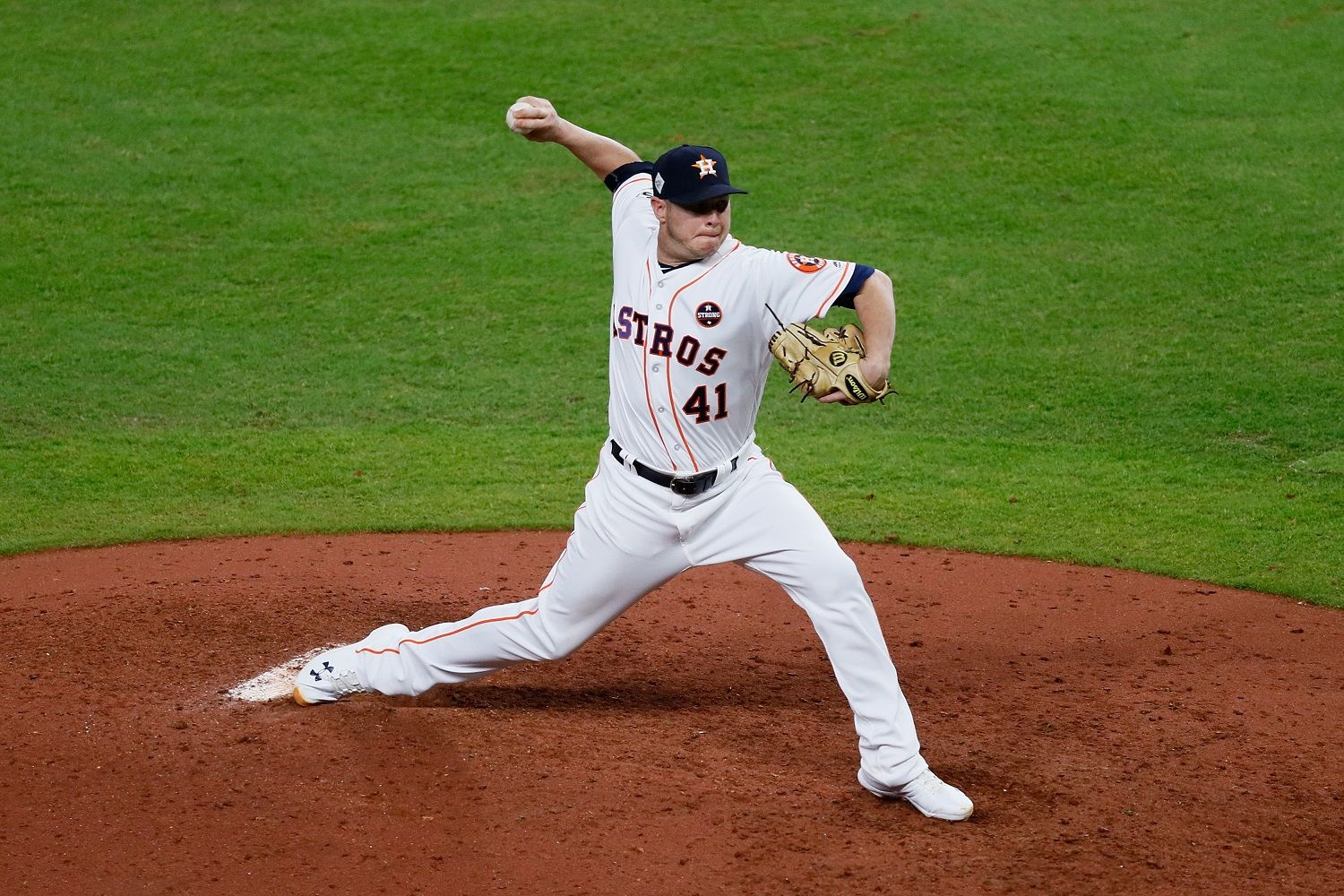 HOUSTON, TX - OCTOBER 27:  Brad Peacock #41 of the Houston Astros throws a pitch against the Los Angeles Dodgers in game three of the 2017 World Series at Minute Maid Park on October 27, 2017 in Houston, Texas.  (Photo by Jamie Squire/Getty Images)