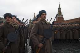 Russian soldiers dressed in Red Army World War II uniforms prepare to march during a rehearsal of a historical parade in Red Square, in Moscow, Russia, Sunday, Nov. 5, 2017. The parade commemorates the participants in a Nov. 7, 1941 parade who headed directly to the front lines to defend Moscow from Nazi forces. (AP Photo/Alexander Zemlianichenko)