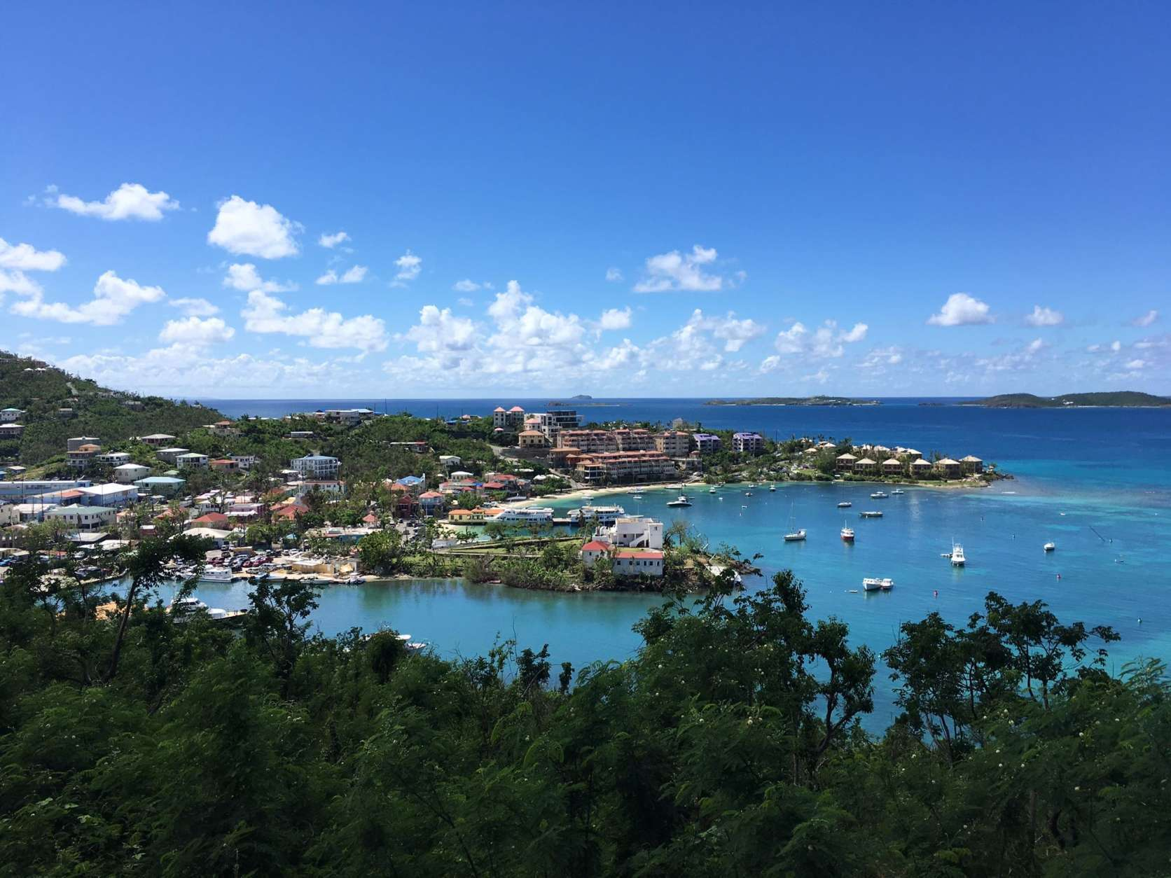Cruz Bay, St. John. Power was restored to the main town nearly two weeks ago. (WTOP/Jeff Clabaugh)