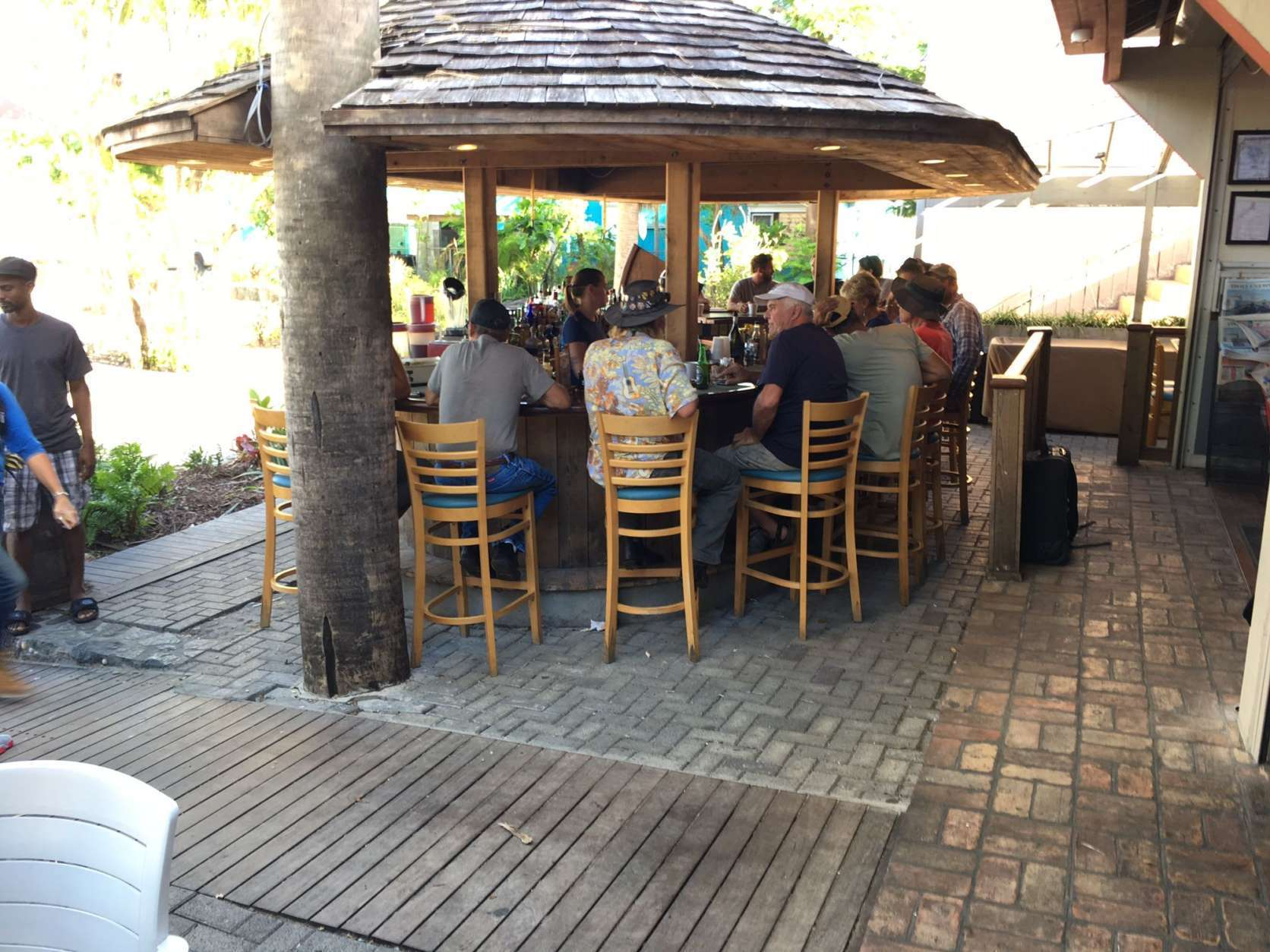 Several bars and restaurants have reopened in Cruz Bay and are doing a brisk business. (WTOP/Jeff Clabaugh)